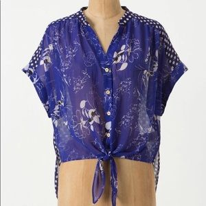 Anthropologie Leifnotes Times Two High Low Blouse